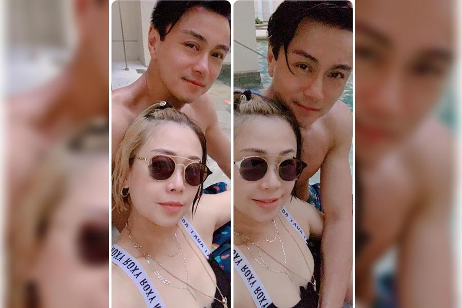 黃浩然在IG曬出一張與老婆的泳照。 黃浩然IG圖片