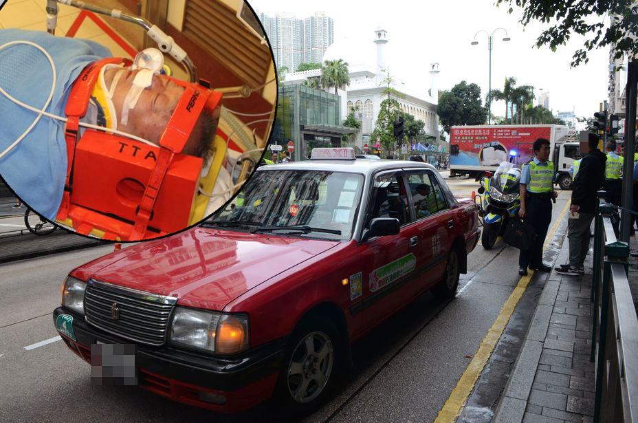 一名64歲來港旅遊的上海男子今早在尖沙嘴遭的士撞倒。