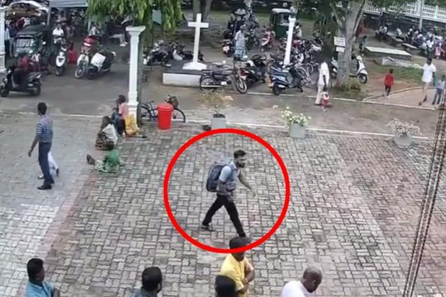 斯里蘭卡爆炸炸彈兇徒教堂外一刻。網上圖片
