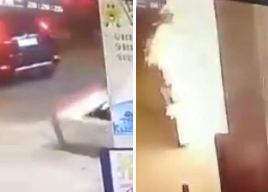 廣東揭陽私家車未拔油槍拉倒入油機,油站發生爆炸。網上圖片