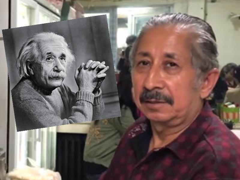 新疆烤肉店老闆外表酷似愛因斯坦。網上圖片