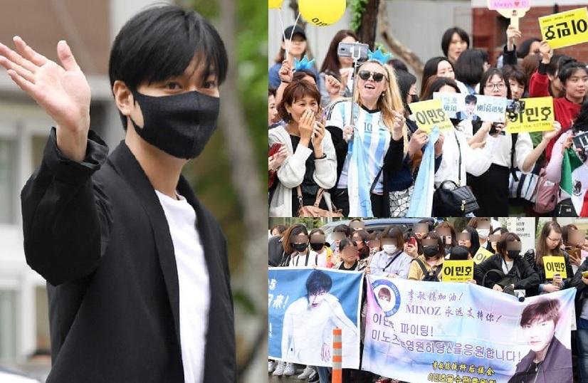 李敏鎬今日退伍,過百粉絲到其服役單位水西綜合社會福利館門外守候。