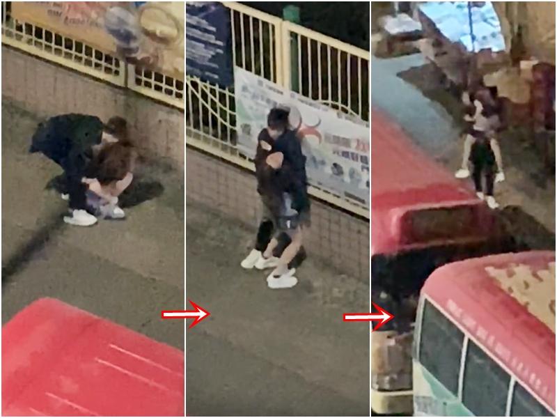 男方多次環抱女友,更試圖將女友抱起惟不成功。