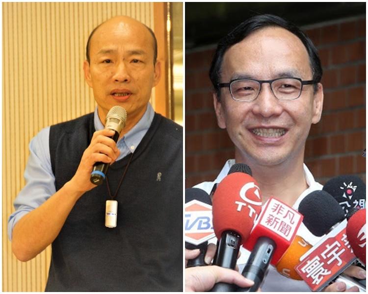 韓國瑜(左)及朱立倫(右)今日先後表示未獲吳敦義通知會面。網圖