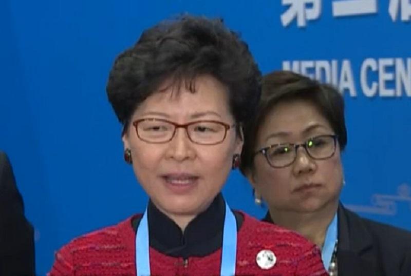 林鄭月娥指修訂《逃犯條例》有全面審慎研究。無綫新聞截圖