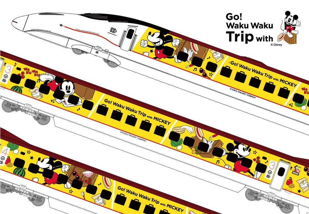 在JR九州新幹線的6卡車廂外,畫上米奇老鼠的彩繪。迪士尼網頁圖片