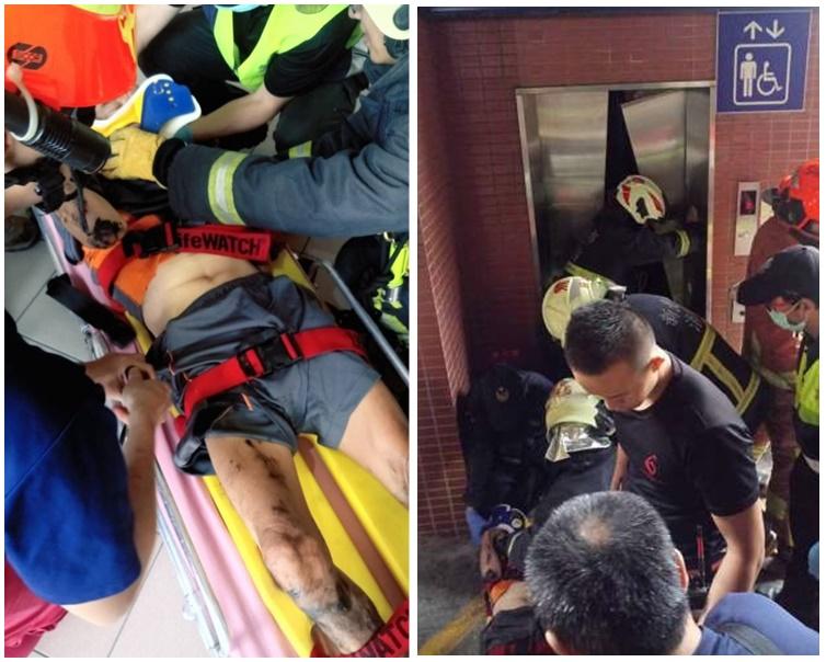 男子被救地面後送往醫院急救。網圖