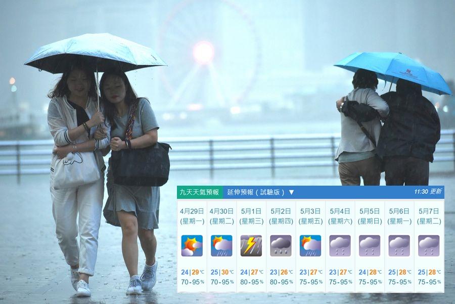 天文台預料周三勞動節(5月1日)多雲,有大驟雨及狂風雷暴,氣溫介乎24至27度。