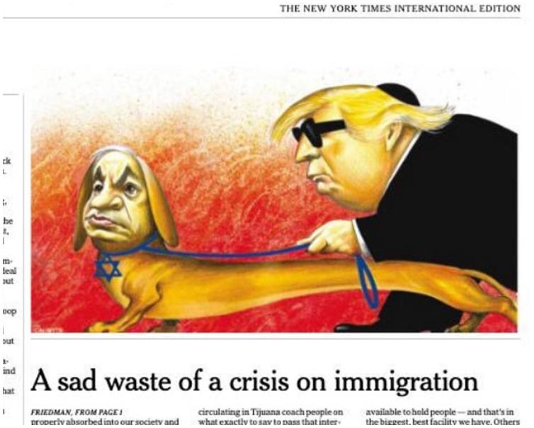 漫画挖苦和丑化内塔尼亚胡和特朗普。