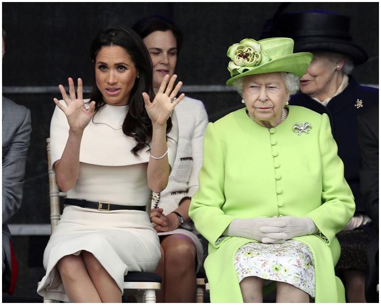 傳梅根太任性被英女皇訓誡。AP