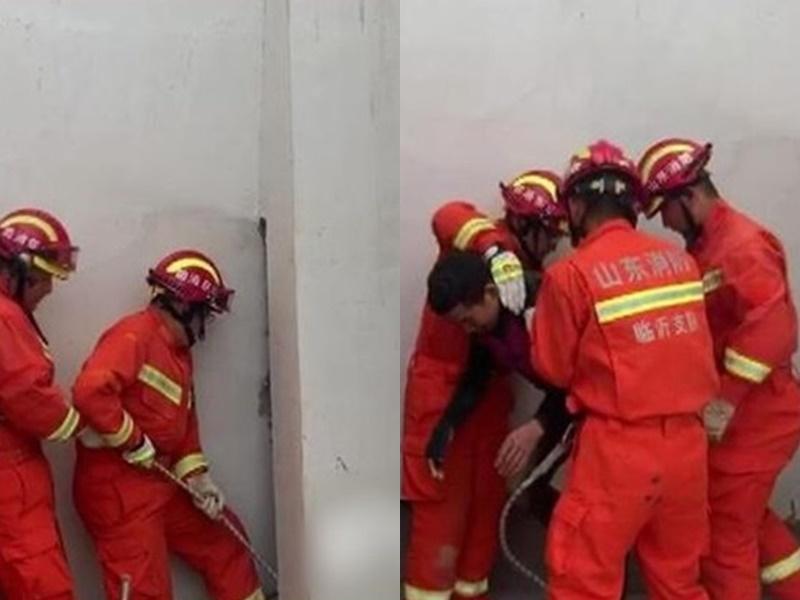 戇男學聖誕老人「爬煙囪」被困大廈通風井。網上圖片