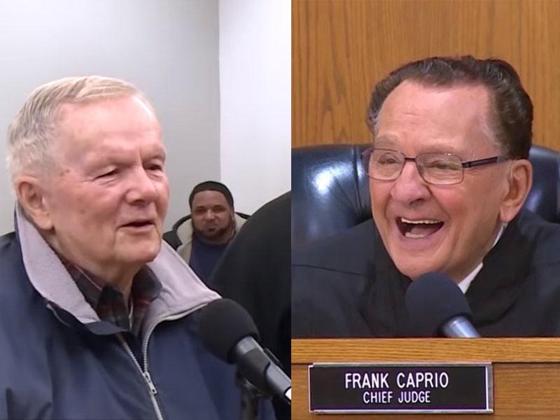法官卡普里奥(右)表示,案件令他印象深刻,是因为伯伯(左)90岁还照顾他的太太,载她到医院,「这是美国一个美好的故事」。(网图)