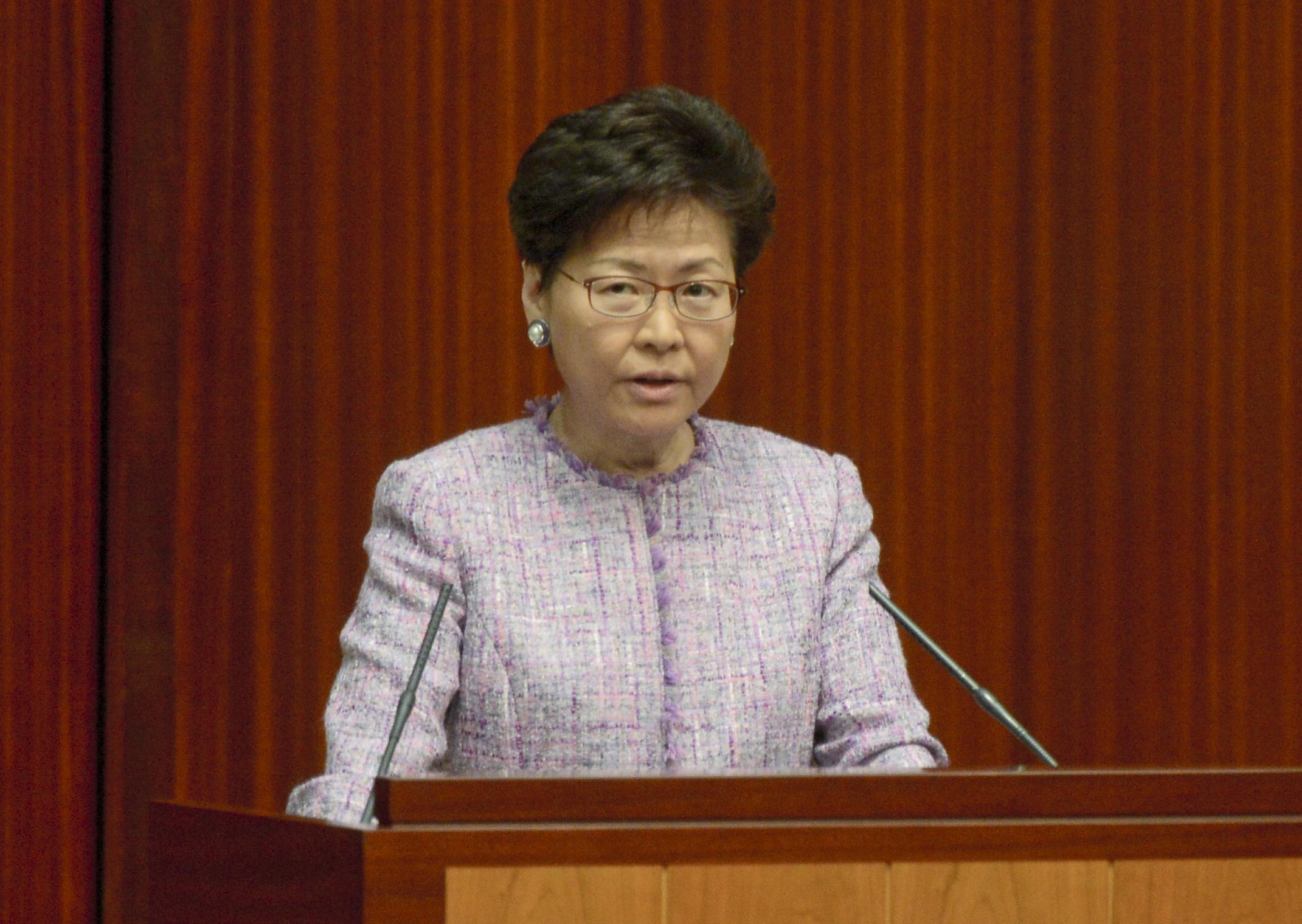 行政長官林鄭月娥到立法會出席答問大會。