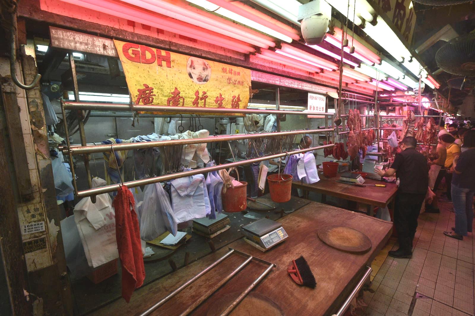 有街市的豬肉檔已經沒有新的豬肉供應