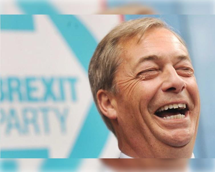脫歐黨由疑歐派大將法拉奇(Nigel Farage)領導。AP