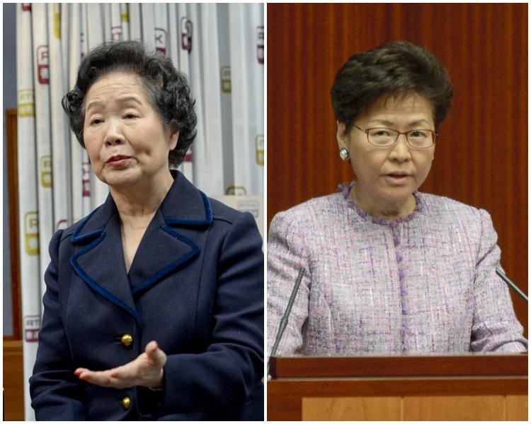陳方安生(左)批評林鄭月娥(右)態度不屑一顧。資料圖片