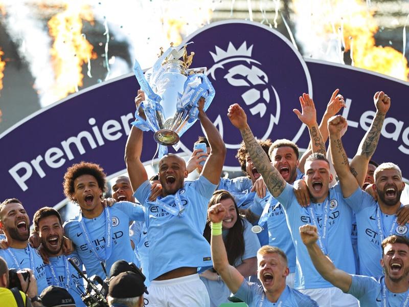 「藍月亮」贏波力壓利物浦成功衛冕英超。AP