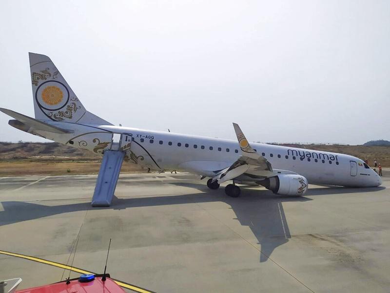 緬甸國家航空一班客機發生起落架故障意外。AP圖片