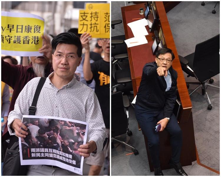 范國威(左)、何君堯(右)分別提告,警方列求警調查處理。