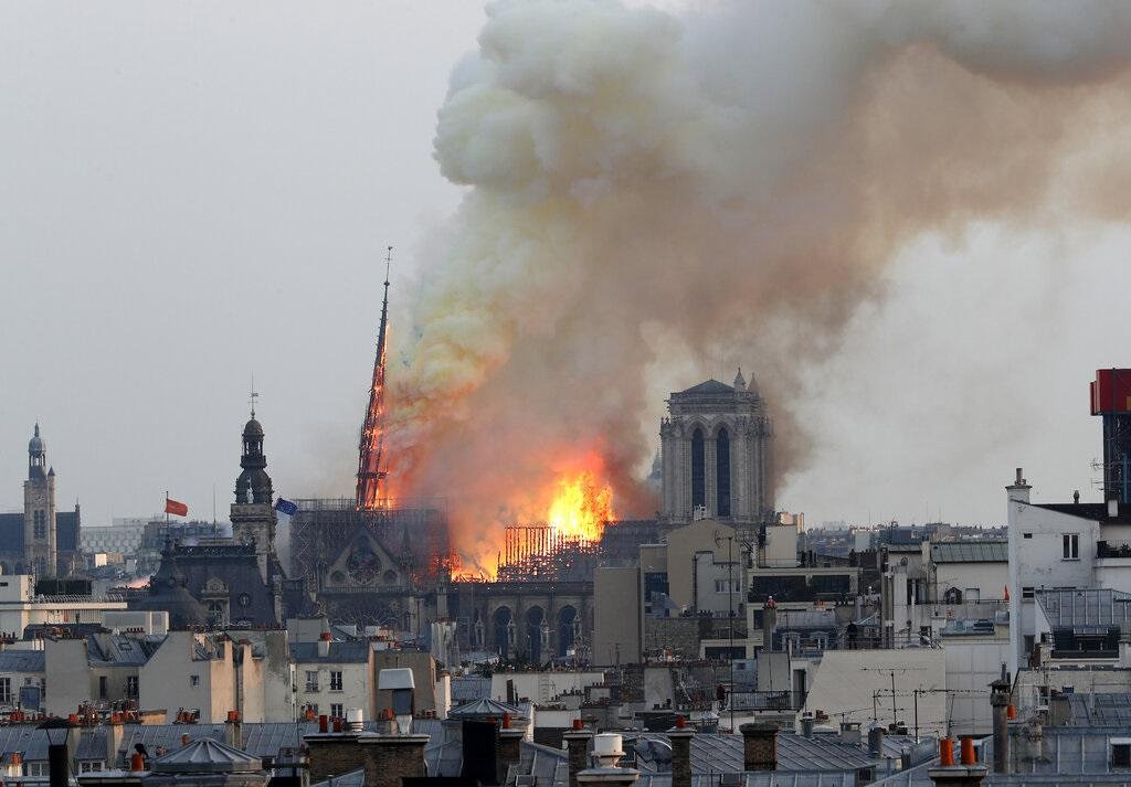 巴黎圣母院上月15日发生大火。AP图片