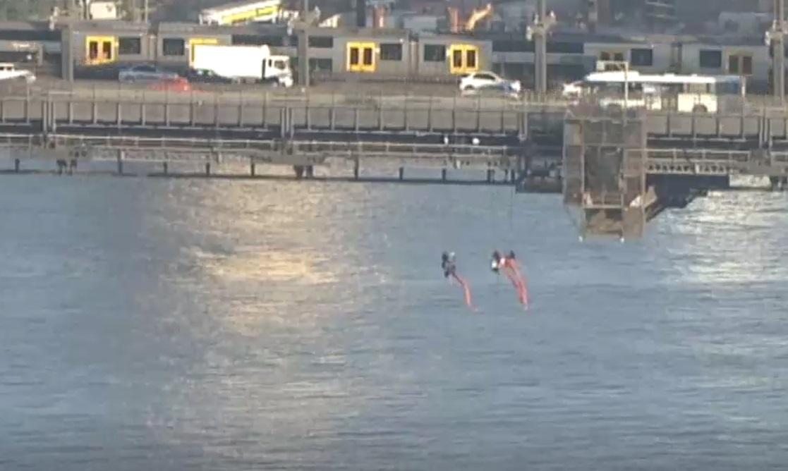 示威者在大桥悬吊了数小时后。网上图片