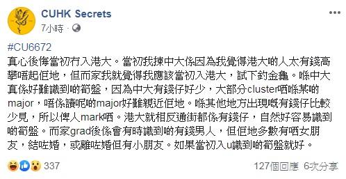 facebook專頁「CUHK Secrets」圖片