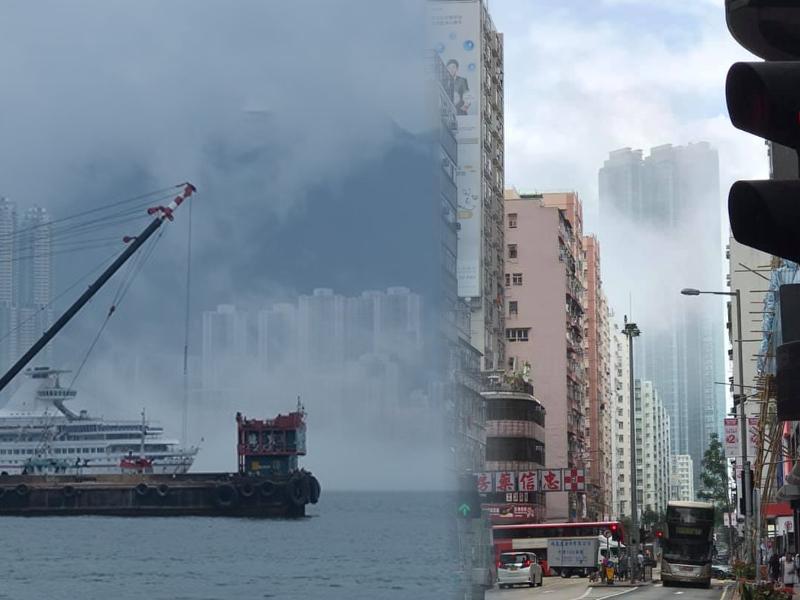 本港被薄霧籠罩。網民Simon Lai圖片/網民Eddie Wong圖片