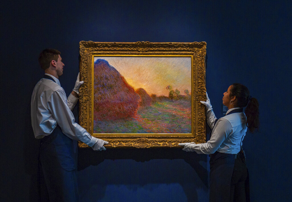 法國莫內經典名畫《乾草堆》系列其中一幅畫作。AP圖片