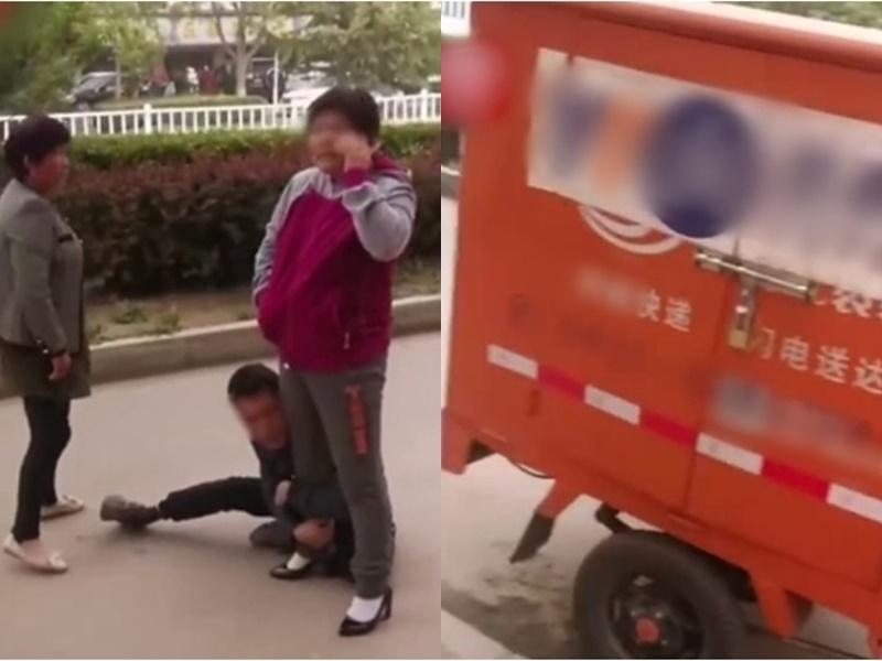 速遞員要求收件簽名不果被大媽掌摑。網上圖片