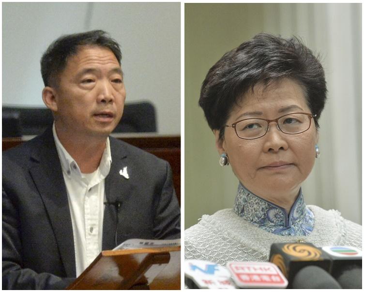 胡志偉(左)提出削減林鄭月娥(右)全年薪酬開支的修正案率先被否決。資料圖片