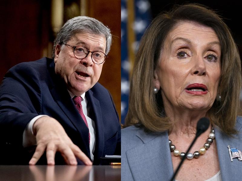 巴爾(左)幽了佩洛西一默,對她說:「帶來了手銬沒有?」AP圖片
