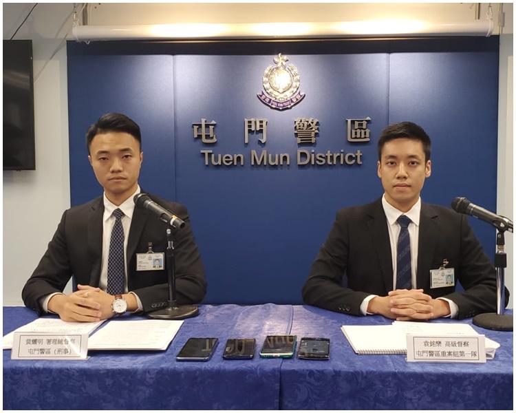 左起:屯門警區署理總督察(刑事)黃耀明、屯門警區重案組高級督察袁銘樂