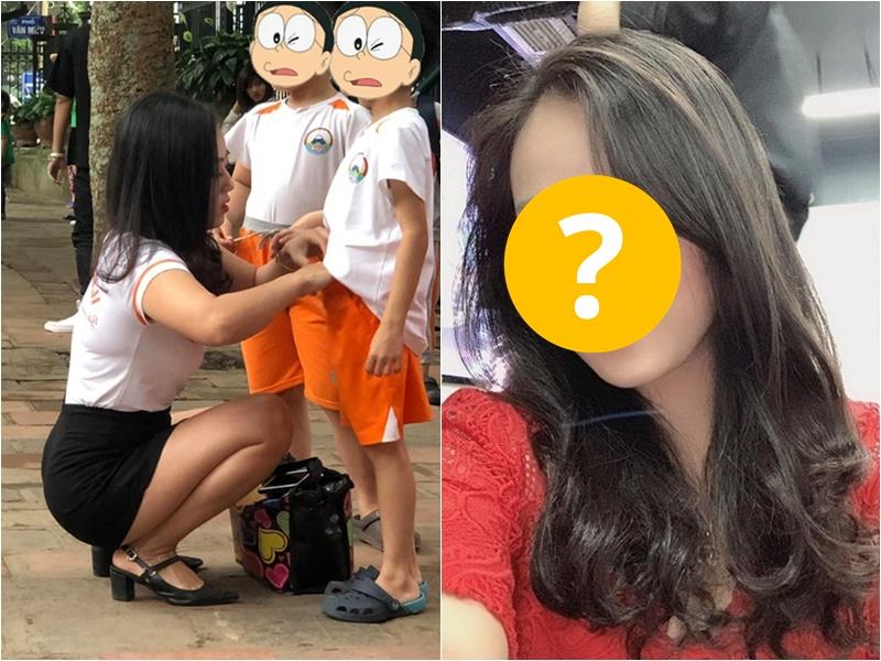 幼稚園老師蹲在路邊幫學童整理衣服的相片近日網上瘋傳。網圖