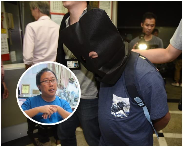 龍緯汶被押返旺角辦公室搜查。小圖為資料圖片