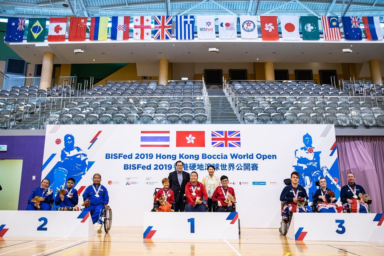 港隊於煞科日取得BC4級雙人賽金牌。相片由香港殘奧會提供