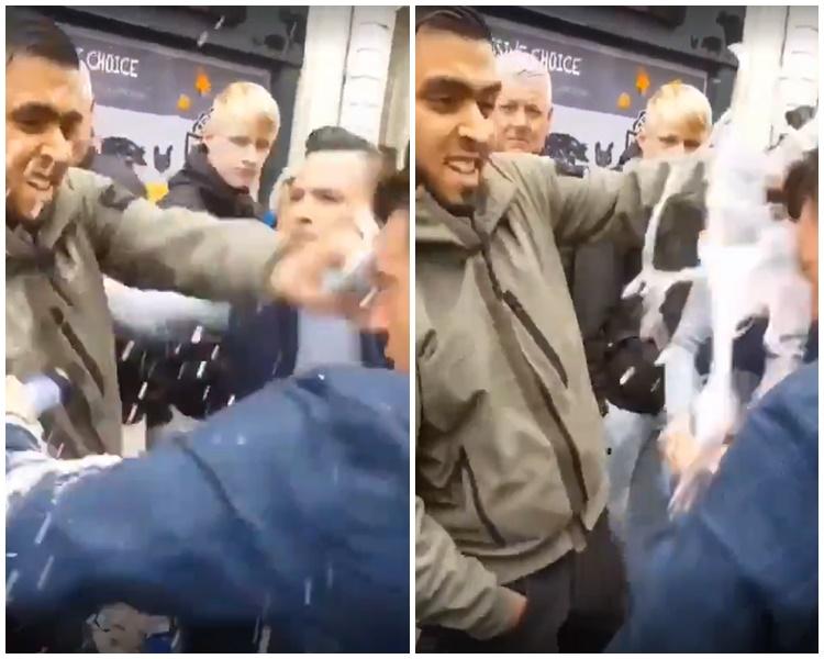 亚克斯里-蓝侬遭抗议者砸奶昔。Twitter