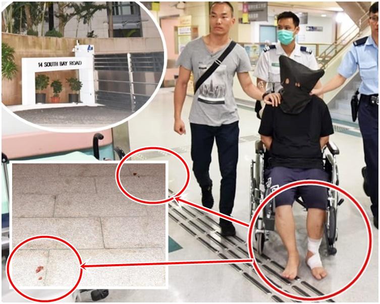 被捕男子腳部受傷,於現場遺下血路(紅圈示)。上小圖為遇竊獨立屋。