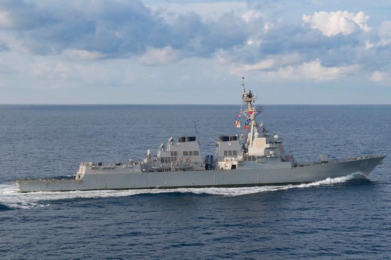 美軍神盾驅逐艦普雷布爾號駛入黃岩島12海里範圍水域。(資料圖片)