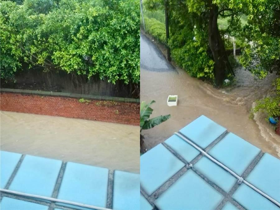新北市淡水多處馬路變成河流。網上圖片