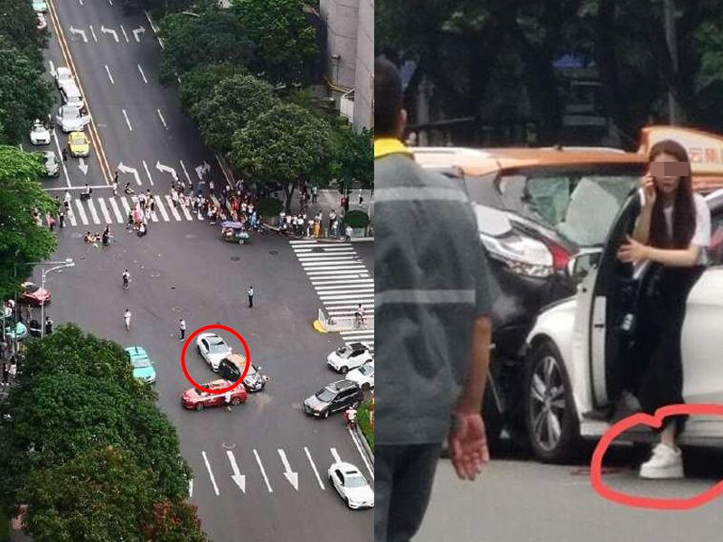 廣州發生嚴重車禍,一輛白色車在等紅燈時突然啟動,闖紅燈撞飛行人,並撞上兩輛汽車。(左)。網傳涉事女司機(右)。(網圖)