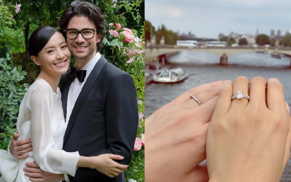 法拉獲丈夫親手設計一隻獨一無二的粉紅鑽戒,寓意幸福永遠。
