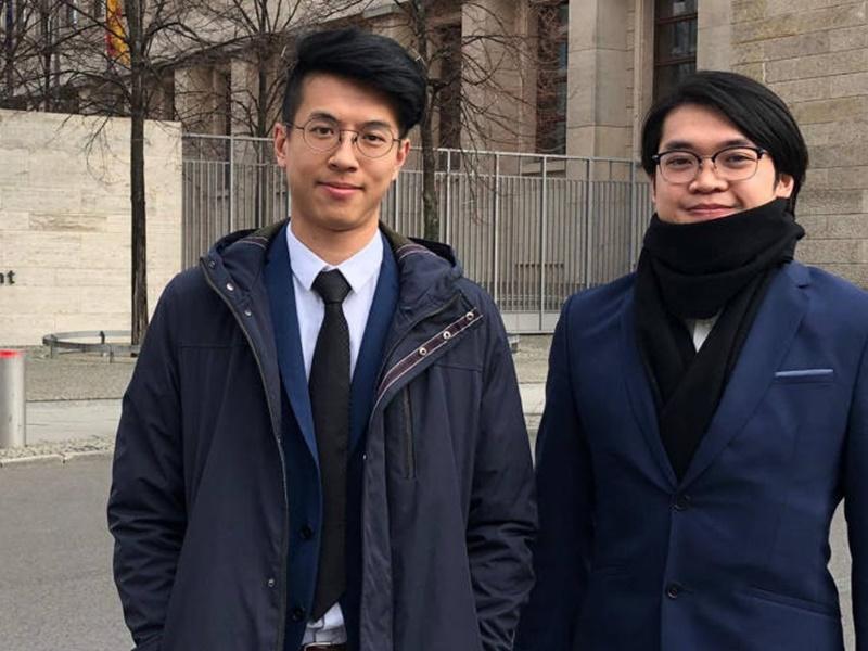 黃台仰(左)及李東昇,獲德國賦予難民庇護。網上圖片
