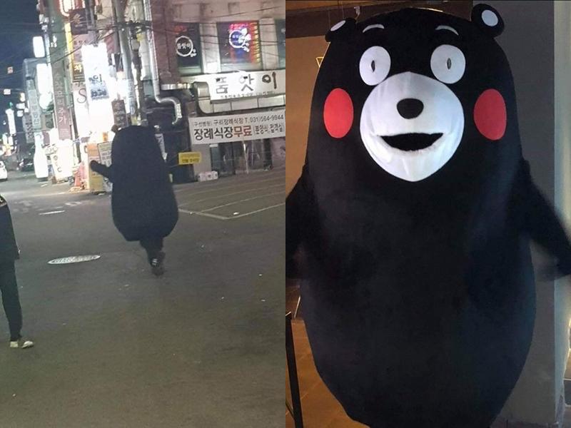 韓國Facebook專頁「구리시 대신전해드립니다」貼出一張「熊本熊」走在韓國街頭的背影照片。  Facebook專頁「구리시 대신전해드립니다」圖片
