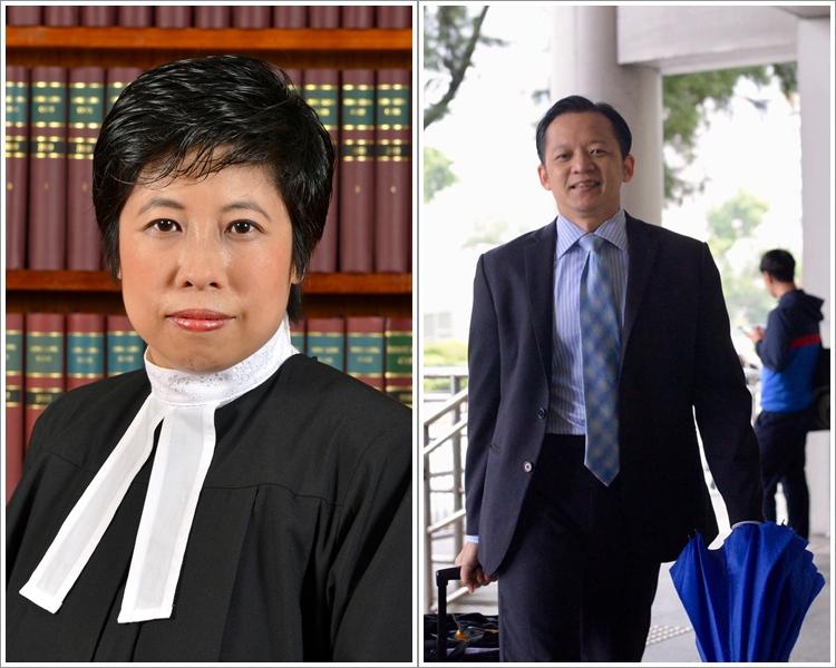 裁判官何麗明(左);辯方律師侯振輝(右)。 資料圖片