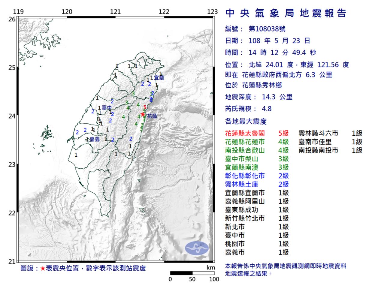台灣花蓮下午2時12分,發生4.8級有感地震。中央氣象局
