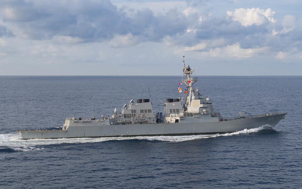 美軍驅逐艦「普雷貝爾號」(USS Preble)。網上圖片