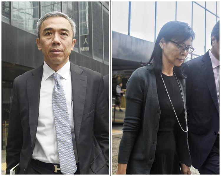 被告馮永業(左)及被告陳婉玉(右)。