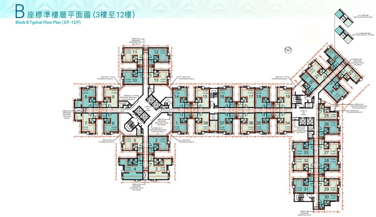 B座樓層平面圖。