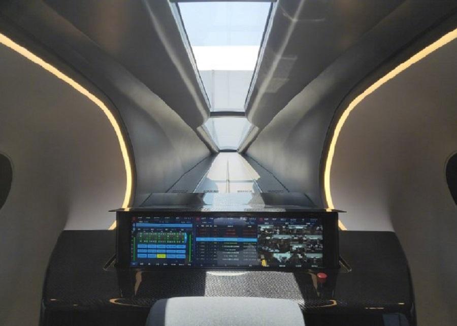 高速磁浮試驗樣車内部。網上圖片