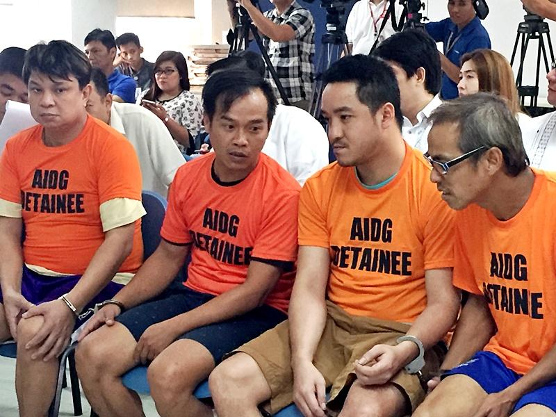 四名港人(前左起)郭錦華、盧榮輝、陳國棟及梁樹福涉菲國犯毒判囚終身,覆檢後法庭維持原判。資料圖片